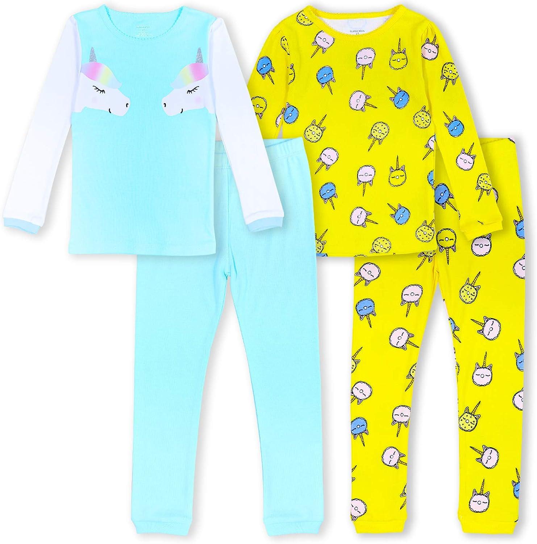 GLASH Kids Girls Pajamas 4-Piece Pjs 100% Cotton Sleepwear Toddler Kids , Unicorn, 4T