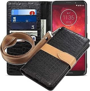Moto Z3 Play Case,Moto Z3 Case,CH-IC Handmade[Wrist Strap] Flip Folio Leather Wallet Cover with Card Slots, Kickstand, Magnetic Clousure,Cash Pockets for Motorola Moto Z Play (3nd Gen) 2018 (Black)