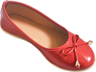 Chipbeys Bellies Round Toe Ballerina Shoes for Girls Electric RED Anti Skid Sole
