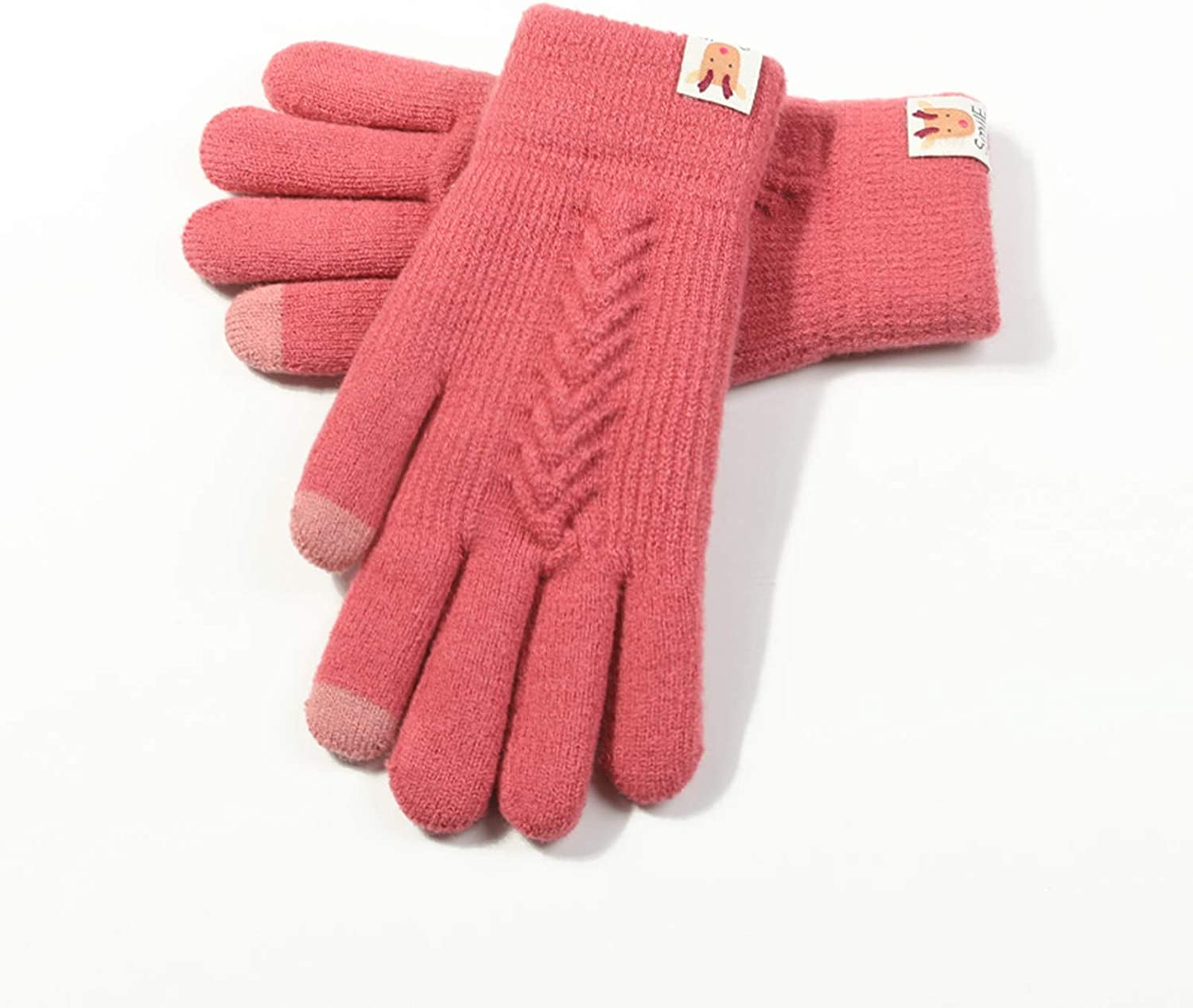 FOLDING Gloves Women's Winter Touch Screen Gloves Knitted Warm Finger Double Layer Touch Screen Texting Gloves for Women (Color : Red)