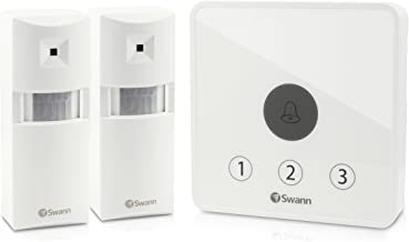 Swann Motion Sensor Alarm, Wireless Home Security PIR Motion Detect Door Alert Kit, Indoor and Outdoor Use