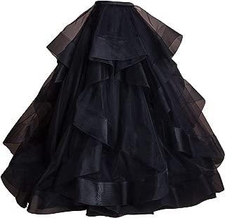 flowerry Women Long Maxi Bridal Skirt Wedding Skirt with Train Hallowmas Christmas Party Prom Skirt