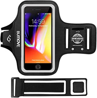 iPhone 7/8 Armband, BUMOVE Gym Running Workout Large Arm Band for iPhone 7/8 with Key Holder - Fits Otterbox Defender/Lifeproof Case (Black)