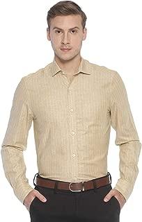 CAVALLO by Linen Club Khaki Striped Formal Regular Fit Linen Shirts for Men