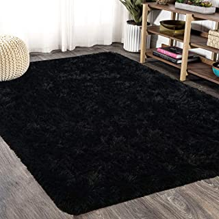 FlashLTD Fluffy Ultra Soft Shaggy Area Rugs for Bedroom Fluffy Carpet for Kids Room Bedside Nursery Mats (Black, 4' x 5.3')