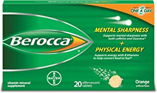 Berocca with Caffeine and Guarana to Support Mental Sharpness and B Vitamins to Support Physical Energy, Orange Flavor, Effervescent Tablets, 20 Count