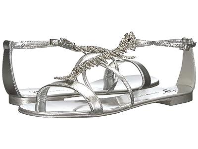 Giuseppe Zanotti Slim Rhinestone Fishbone Flat Sandal (Metal Silver) Women