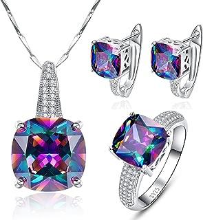 Women's Rainbow Mystic Topaz 925 Sterling Silver Pendants Ring Earrings Jewelry Set