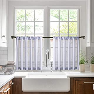 Jola's House Tier Curtains Kitchen Cafe Bathroom Window Curtain Panels, Faux Linen Texture Lilac Semi Sheer Rod Pocket (W34 x L24 Inch, 2 Panels)