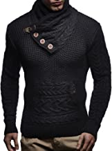 Leif Nelson Men's Knitted Pullover   Long-sleeved slim fit Knitwear   Winter sweatshirt with shawl collar for Men