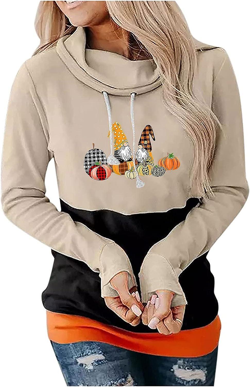 wodceeke Halloween Hooded Sweaters, Womens Long Sleeve Print Sweatshirts Crewneck Casual Blouse Plus Size Tops for Women