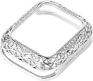 ZAALFC Cubierta Tallada de Metal para Mujeres de Lujo para la Serie de Casos de Reloj de Apple 6 SE 5 4 3 Parachoques de D...