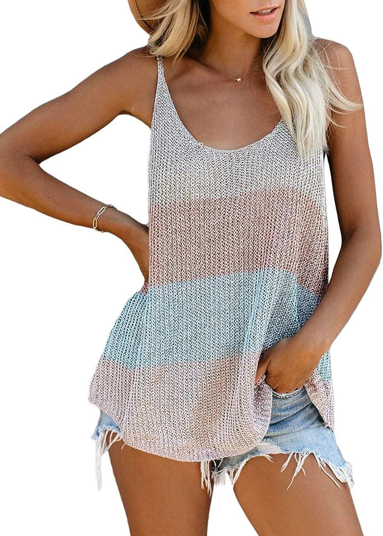 HUUSA Women Summer Knit Tank Tops Casual Strappy Sleeveless Shirts Blouse Camis