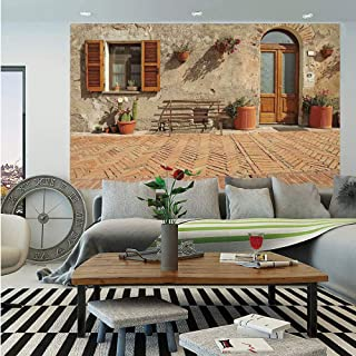 SoSung Tuscan Wall Mural,Medieval Facade Rustic Wooden Door Ancient Brick Wall in Small Village,Self-Adhesive Large Wallpaper for Home Decor 83x120 inches,Tan and Light Cinnamon