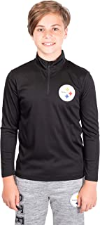 Ultra Game Boys' NFL Quarter Zip Pullover Athletic Quick Dry Long Sleeve Tee Shirt