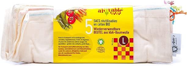 Ecodis - 5 Sacs réutilisables fruits et légumes, en coton bio