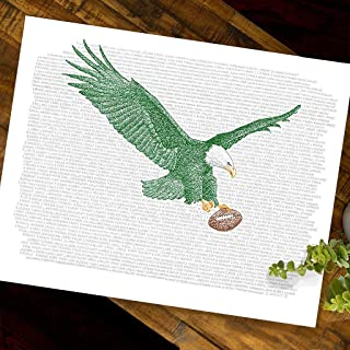 Philadelphia Eagles All Time Roster Word Art Print - Handwritten with The Names of Every Eagles Player in History - 16