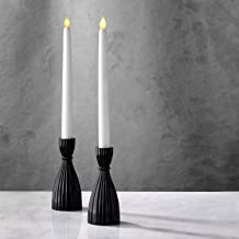 Black Candlestick Holder Set - Glass Taper Candle Holders, 6 Inch Tall, Glossy Black Finish, Fits Standard 3/4 Inch Tapere...