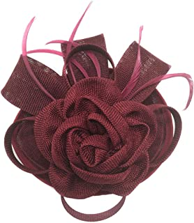 Fascinator Sinamay Rose Flower Pillbox hat Hair Clip Cocktail Party Wedding