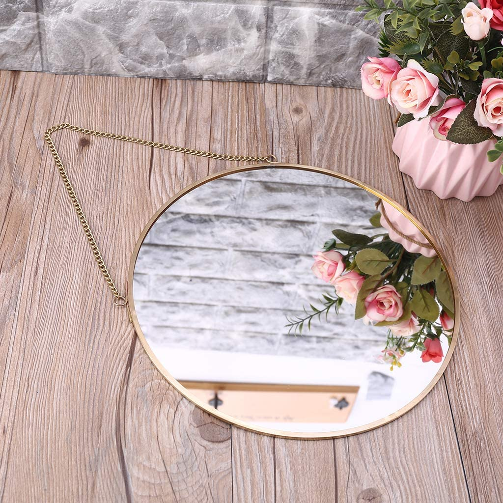 LinLin Nordic Round Wall Hanging Mirror Gold Dressing Table Makeup ...