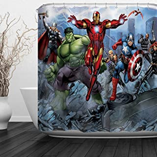 Baccessor Super Hero Shower Curtain Spider Man, Hulk, Captain America, Black Panther and Iron Man Marvel Fans Favorite American Hero for Boys, 72