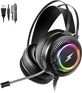 Jelly Comb Auriculares para Juegos con Micrófono para PS4, Sonido Envolvente 7.1, Auriculares Gaming con Cable de 3.5mm y Lámpara LED RGB para PS4/Nintendo Switch/Xbox One/PC/Laptop/Tableta, Negro