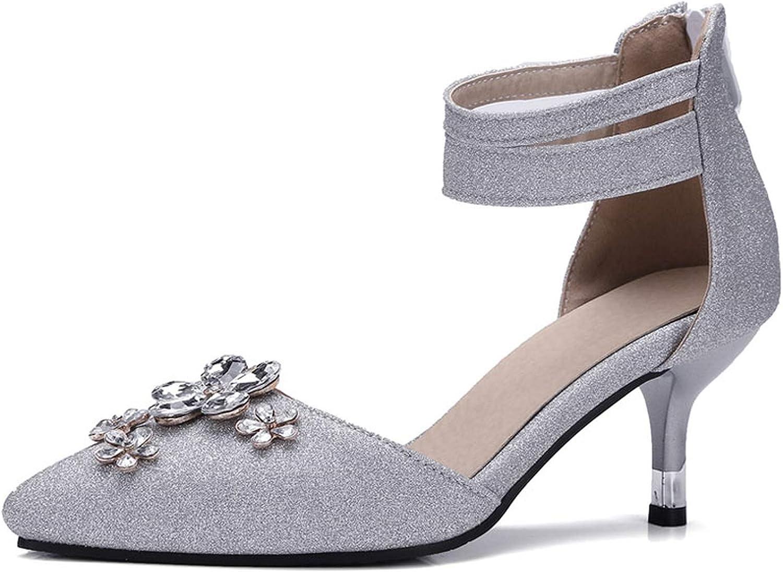 Small Basketball Ankle Wrap Women Sandals Kitten Heels Rhinestone Ladies Silver High Heels Sandals Cover Heel