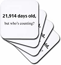 3dRose CST_108327_1 21914 Days Old But Who's Counting Happy 60th Birthday Soft Coasters, Set of 4