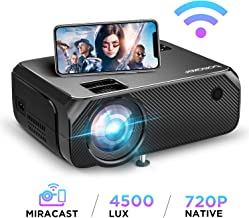 Bomaker Wi-Fi Mini Projector, Upgraded 4500 Lux, Full HD 1080P and 300'' Display Supported Portable HDMI Projector, Wireless Screen Mirroring and Miracast, for Android/ iOS / Laptops/ PCs/ Windows 10