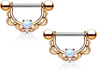 Pair of Opal Centered Filigree Drop Nipple Rings Barbell Barbells 316L Stainless Steel 14G - Sold as a Pair