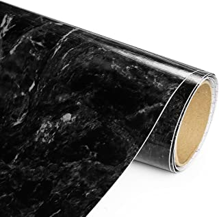 Black Marble Adhesive Film - High Gloss- 20 Foot - Economical alternative to rehabilitate your countertops, backsplash and cabinets - (240