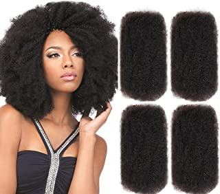 FASHION IDOL 4 Bundles Afro Kinkys Bulk Human Hair (20 Inches/20 Inches/20 Inches/20 Inches - Natural Black)