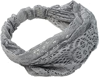 Refaxi Women Gray Bandanas Lace Headwrap Headband Girls' Hair Accessory Gift