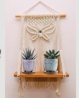 Urooz  930  Boho Macrame Wooden Wall Hanging Shelf, Modern Chic Woven Macrame Tapestries, Wall Art Home Decor for Apartmen...