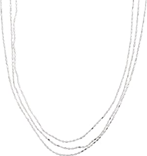 Messina' Triple-Strand Beaded Chain Necklace in Sterling Silver