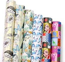 UNIQOOO Premium Assorted Gift Wrapping Paper 6 Designs 4 Sheets Each(24 PRE-Cut Sheets Total), Packaged into 3 Rolls, Pop Art Kimono Style,Sheet Size 27½