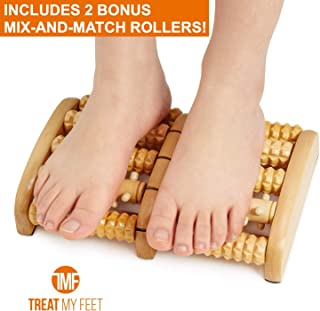 Customizable Foot Massager Roller | Best Light & Portable Wooden Massage Therapy Products for Heel Pain, Edema, Plantar Fasciitis, Sore Feet Relief | Reflexology Tool with 2 Free Roller Inserts