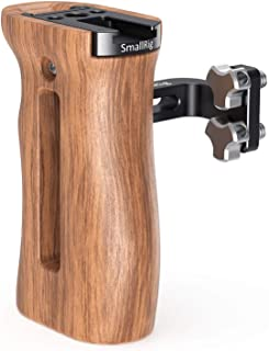 SMALLRIG Camera Wooden Hand Grip Universal for Both Right and Left Side Handle with Cold Shoe Mount, Threaded Holes (for L...
