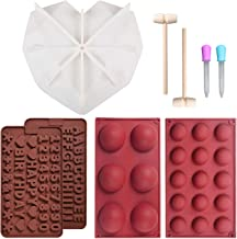 Silicone Bake Pan Silicone Chocolate Cake Molds 15/6 HolesSphere Silicone Molds with Wooden Hammers Pounding Toy,Diamond H...
