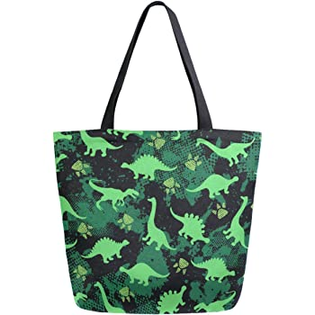 ZzWwR Cool Green Camouflage Pattern Extra Large Canvas Beach Travel Reusable Grocery Shopping Tote Bag Portable Storage HandBag