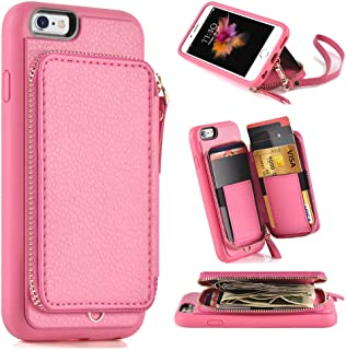 ZVE Case for Apple iPhone 6s and iPhone 6, 4.7 inch, Leather Wallet Case with Credit Card Holder Slot Zipper Wallet Pocket Purse Handbag Wrist Strap Protective Cover for Apple iPhone 6 / 6s - Rose