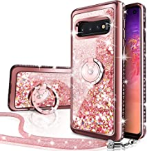 Silverback Case Compatible with Samsung Galaxy S10, Girls Women Moving Liquid Holographic Sparkle Glitter Case with Kickst...