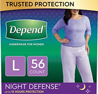 Depend Night Defense Incontinence Underwear for Women, Disposable, Overnight, Large,..