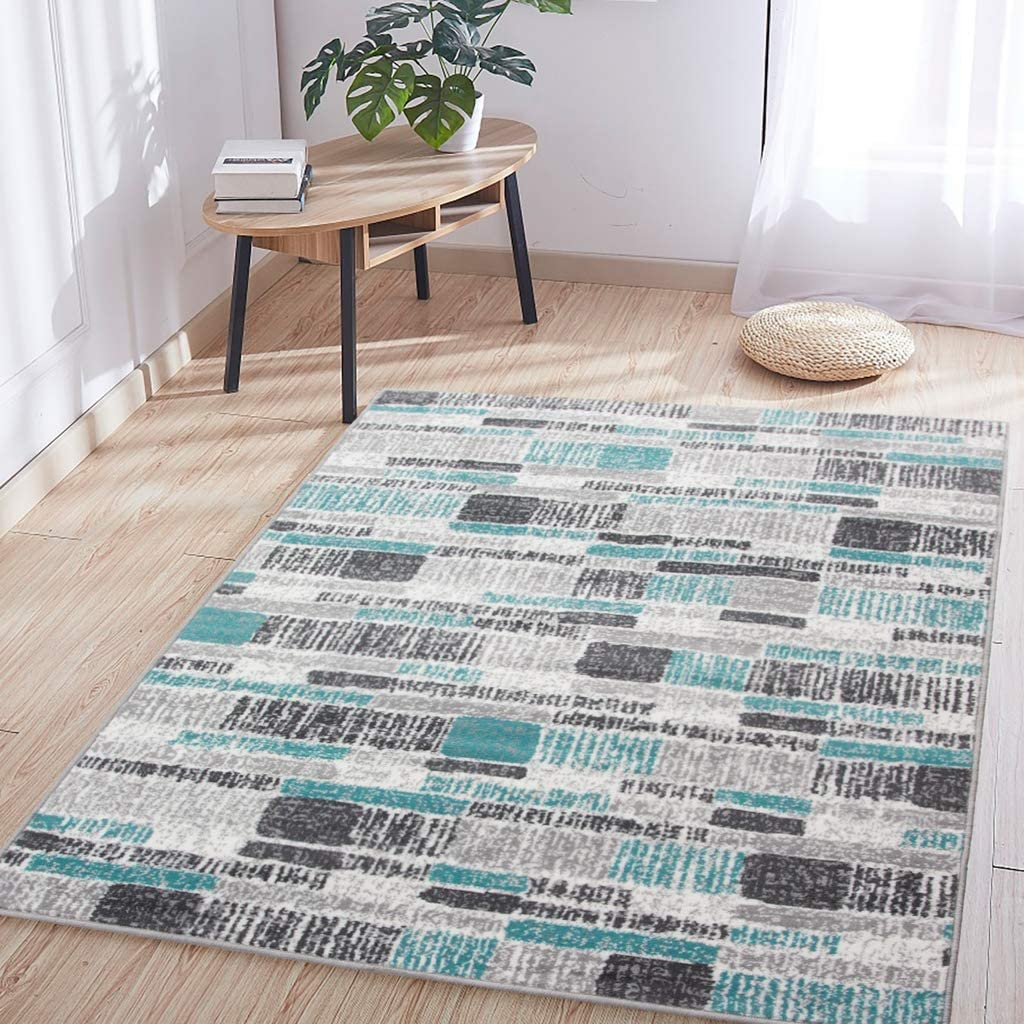 Popular Blue Gray Striped Direct sale of manufacturer Rug Teal Textured Room Area Geometric Living B