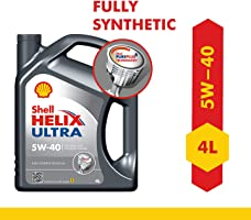 Shell Helix Ultra 5W-40 API SN Fully Synthetic Engine Oil for Petrol, Diesel, CNG/LPG Cars (4 L)