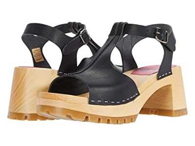 Swedish Hasbeens Stitched Tracta Sandal (Black) Women