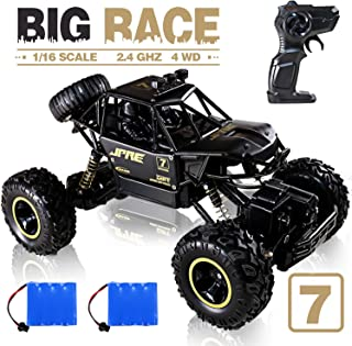 JACKEETD Monster Truck 2.4Ghz Radio Remote Control Trucks, 1/16 Scale Off Road RC car with Two Rechargeable Batteries, Racing RC Truck for All Adults and Kids - Black