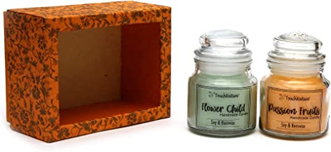 Touch Nature Scented Soy and Beeswax Glass Jar Candle. Packed in Handmade Nepali Paper Box, 100gm (Set of 2) (Passion Fruits and Flower Child)