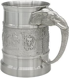 Oriental Pewter - Pewter Beer Mug Pure Tin 97% Lead-Free Pewter BJME Hand Carved Beautiful Embossed Handmade in Thailand