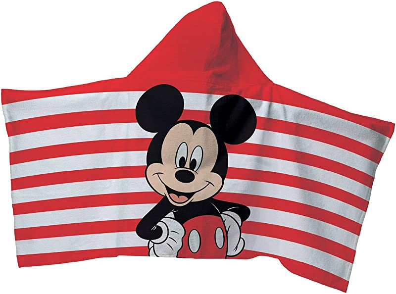 Disney Mickey Mouse Hooded Towel Wrap 22 X 51 Red And White Stripes With Mickey Towel With Hood For Children Child Kids
